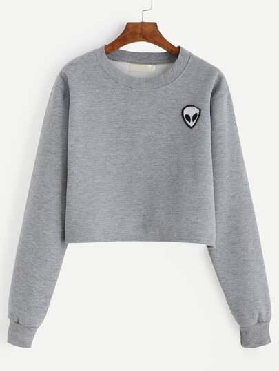 Alien Patch Crop Sweatshirt