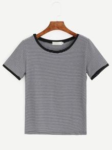 Camiseta a rayas ribete en contraste