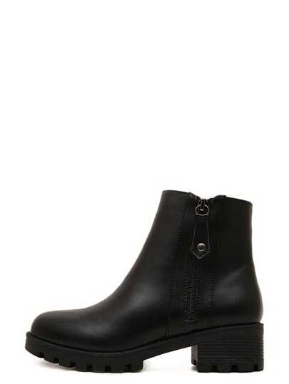 Black Faux Leather Round Toe Side Zipper Boots