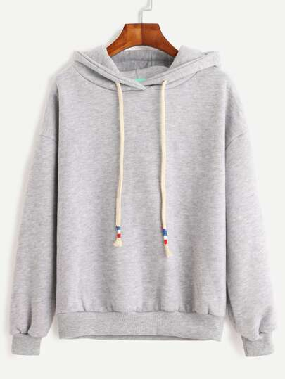 Drop Shoulder Drawstring Hooded Sweatshirt