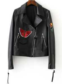 Black Flower Embroidery Oblique Zipper PU Jacket