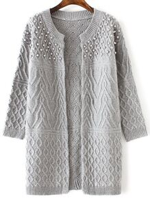 Grey Cable Knit Beaded Long Sweater Coat