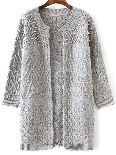 Grey Cable Knit Beaded Long Sweater Coat -SheIn(Sheinside)