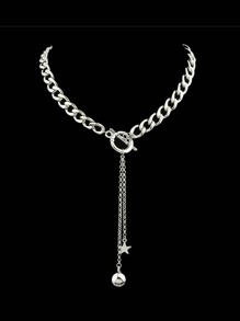 Silver Color Collar Necklace With Long Chain