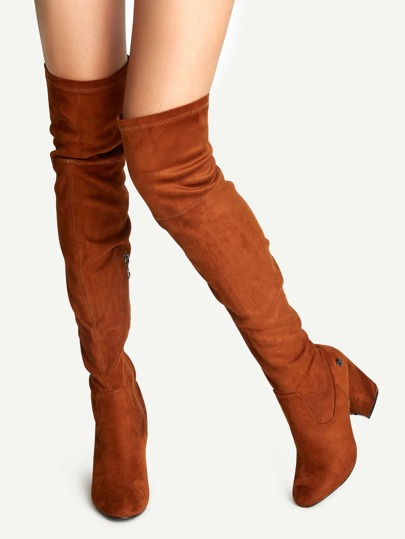 Brown Faux Suede Point Toe Over The Knee Boots