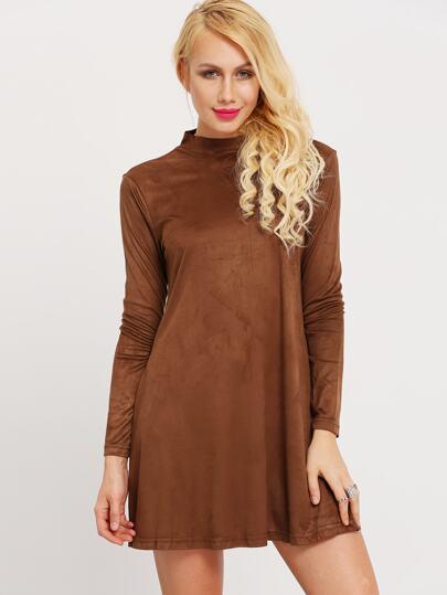 Brown Mock Neck Suede Dress