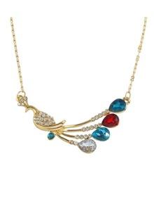 Rhinestone Peacock Pendant Necklace