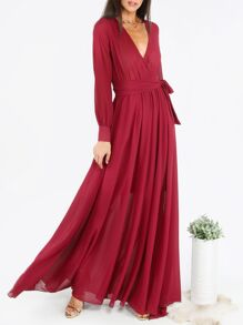 Burgundy Surplice Front Self Tie Cuff Sleeve Dress