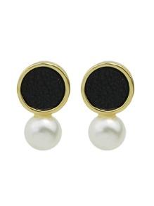 Black New Coming Imitation Pearl Small Stud Earrings