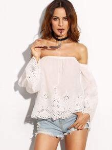 White Off The Shoulder Embroidered Hollow Blouse