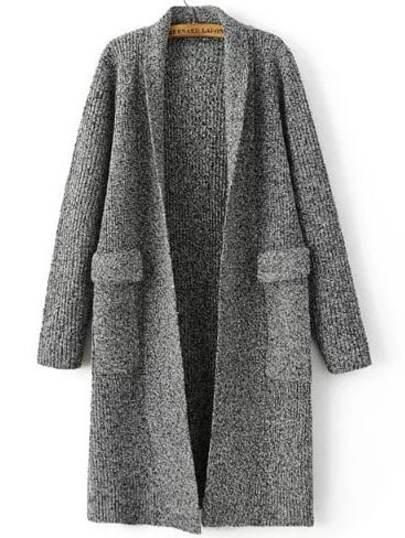 Grey Marled Knit Shawl Collar Textured Cardigan With Pockets