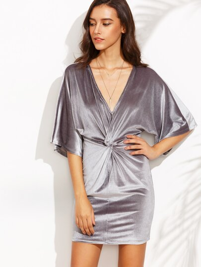 Silver Grey V Neck Knotted Half Sleeve Bodycon Dress