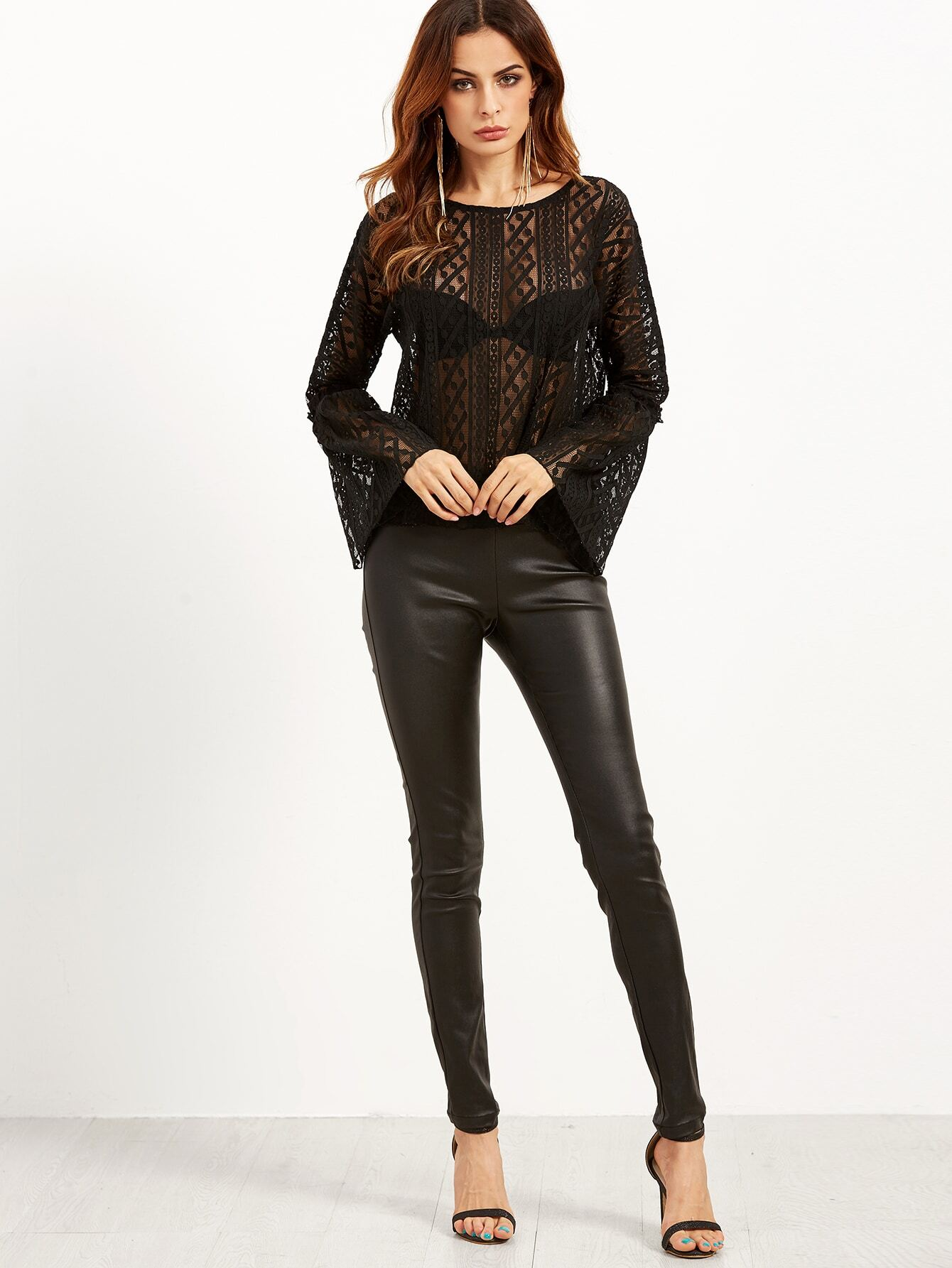 Black Sheer Lace Bell Sleeve Top blouse160830401