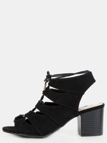 Lace Up Faux Suede Chunky Heels BLACK