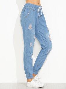 Blue Ripped Drawstring Elastic Hem Jeans