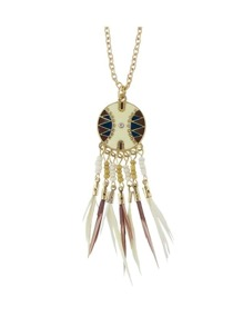 White Dream Catcher Style Colorful Feather Pendant Necklace