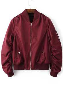 Gathered Zip Sleeve Flight Jacket