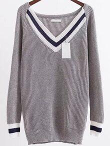 Grey Chevron Pattern V Neck Raglan Sleeve Long Sweater