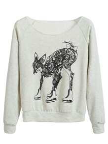 Grey Deer Print Raglan Sleeve Sweatshirt