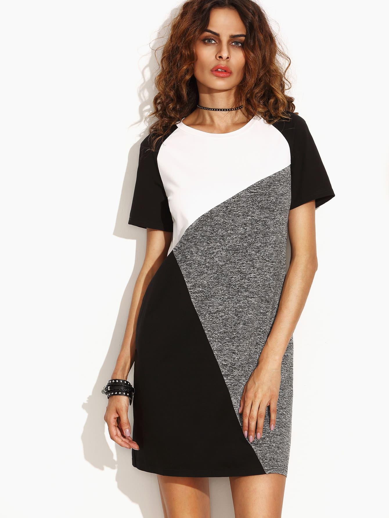 Color Block Raglan Sleeve Tee Dress