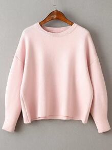 Pink Round Neck Ribbed Trim Drop Shoulder Knitwear