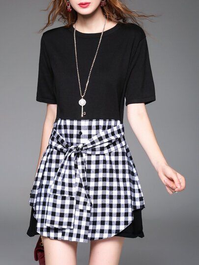 White Black Check Tie-Waist Dress