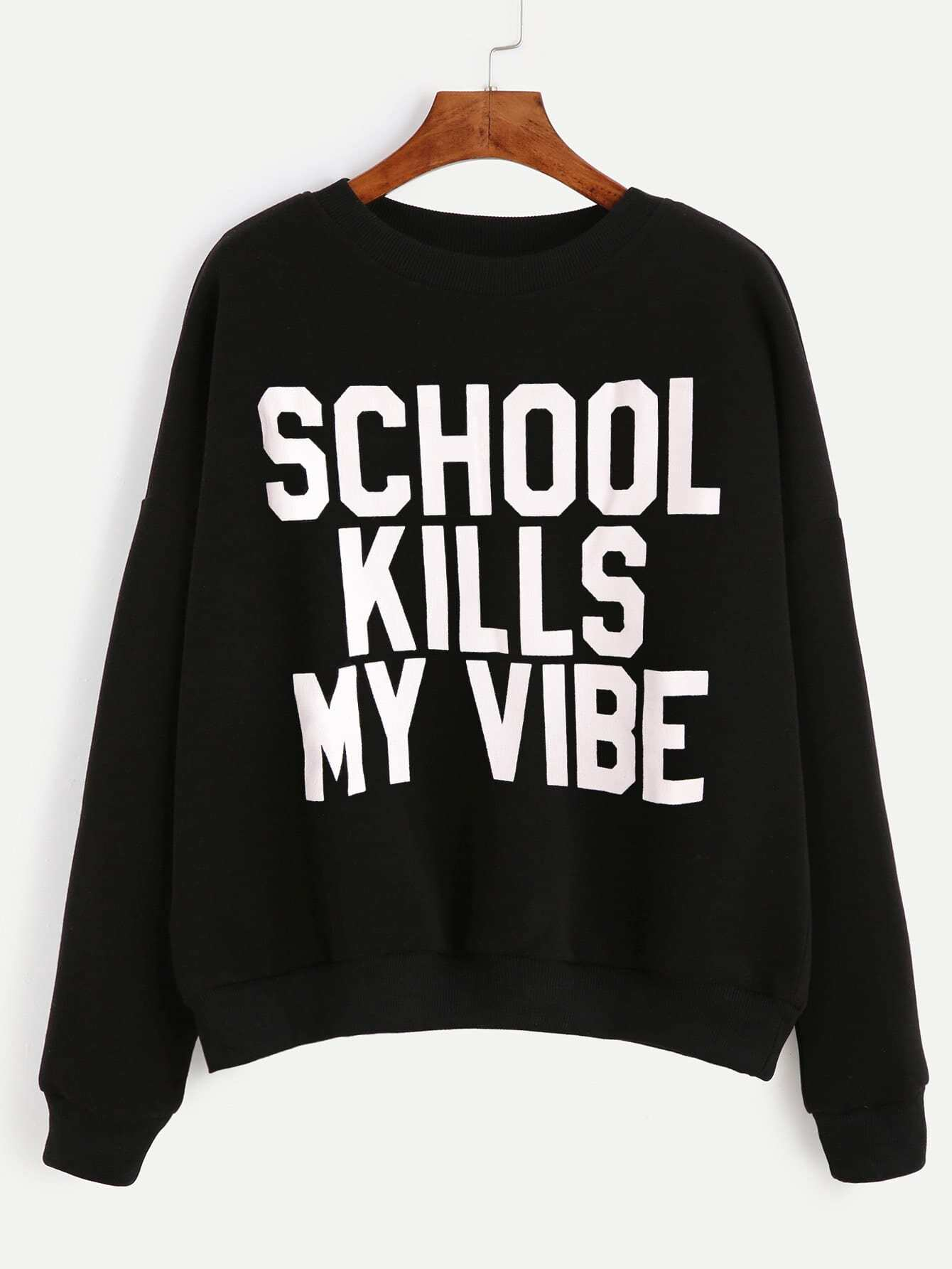 Letter Print Drop Shoulder Sweatshirt hooded drop shoulder patch sweatshirt
