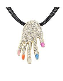 Colorful Hand Shape Pendant Necklace