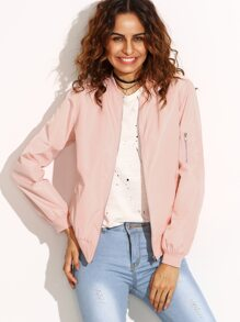 Pink Zip Up Bomber Jacket With Arm Pocket