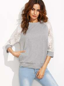 Heather Grey Contrast Lace Raglan Sleeve Sweatshirt