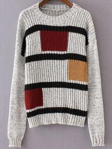 Grey Geometric Pattern Drop Shoulder Knitwear