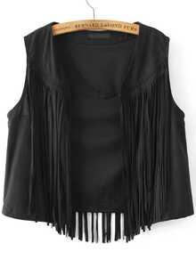 Black Fringe Overlay Suede Vest