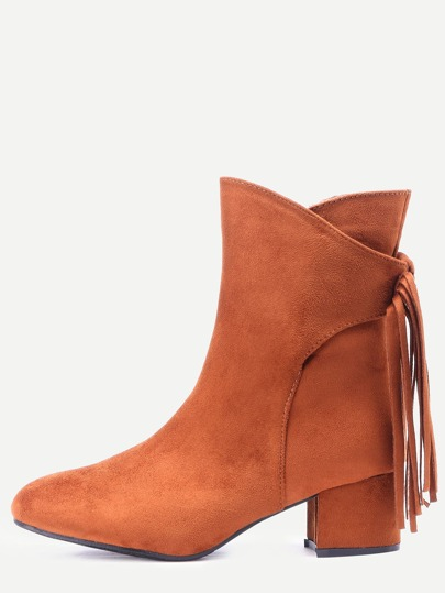 Light Brown Suede Fringe Point Toe Boots