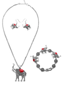 Vintage Silver Plated Red Gemstone Elephant Jewelry Set
