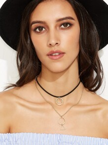 Gold Plated Geometric Hollow Pendant Layered Choker Necklace