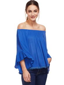 Blue Off-The-Shoulder Bell Sleeve Top