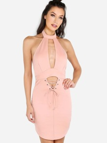 Choker Plunge Neck Strap Dress BLUSH