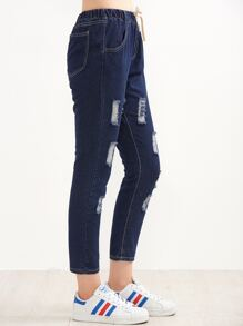Blue Ripped Drawstring Waist Ankle Jeans