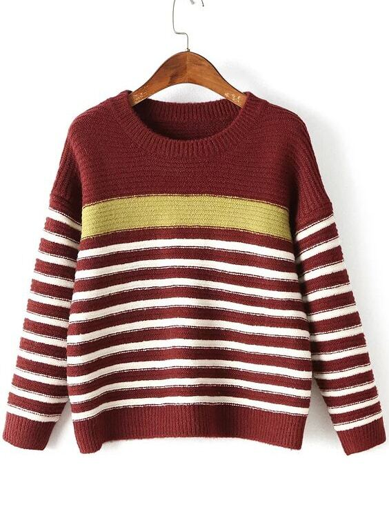 Red Striped Ribbed Trim Drop Shoulder Knitwear sweater160830227