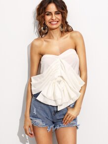 White Bandeau Bow Convertible Crop Top