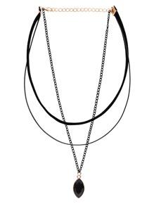 Three-Layer Black Bead Pendant Choker Necklace