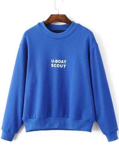 Blue Letter Print Round Neck Sweatshirt