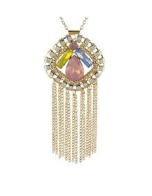 Coloful Rhinestone Chain Necklace