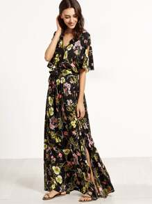 Floral Print Split V Neck Wrap Maxi Dress