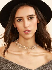 Silver Plated Alloy Circle Hollow Out Choker Necklace