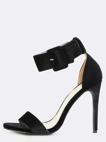 Open Toe Velvet Chunky Buckle Heels BLACK