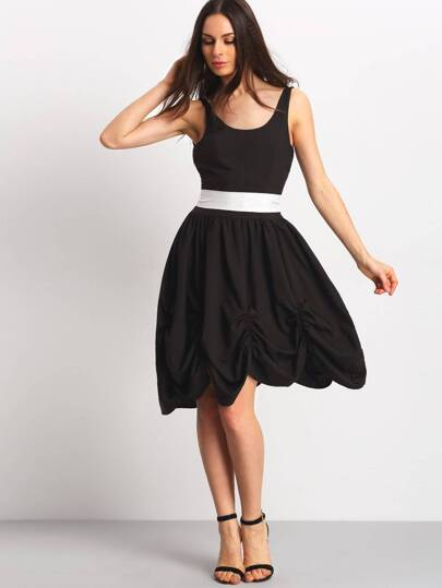 Black Sleeveless Bow Tie Waist Backless Dress