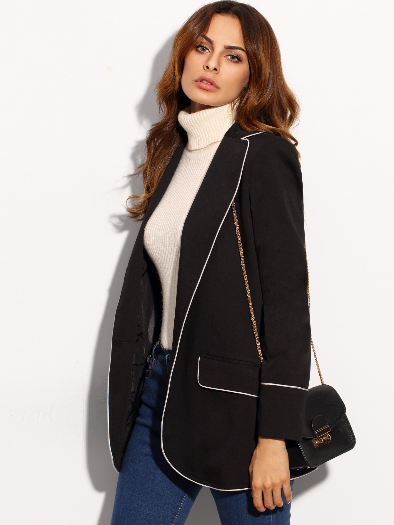 Black Contrast Piping Open Front Longline BlazerBlack Contrast Piping Open Front Longline Blazer<br><br>color: Black<br>size: XS
