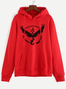 Red Print Hooded Sweatshirt