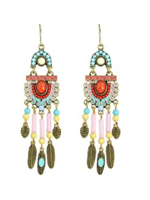Bohemian Colorful Feather Tassel Chandelier Earrings